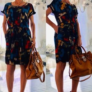 Cynthia Steffe multi-colored linen/silk dress  8